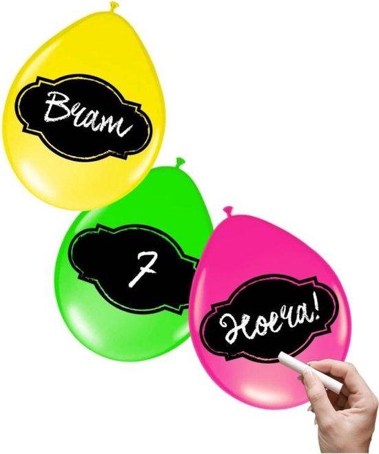 12x stuks Neon kleur ballonnen beschrijfbaar met krijtjes