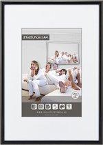 Halfronde Aluminuim Wissellijst - Fotolijst - 60x60 cm - Helder Glas - Lak Zwart - 10 mm