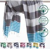 ANATURES® Strandlaken MARINA 95 x 185 cm - Soft Cotton Hamamdoek XXL – Fairtrade Sauna Badlaken - Biologische Katoen - Donker Grijs/Turquoise