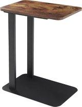 Bijzettafel vintage op metalen voet - 50x35cm - vintage bruin / zwart