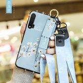 Voor Huawei Nova 6 Floral Doekpatroon Shockproof TPU Case met houder & polsband & nek Lanyard (blauw)