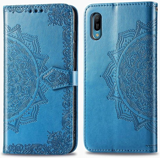 Voor Huawei Y6 Pro (2019) Halverwege Mandala reliëfpatroon Horizontale flip lederen tas met houder & kaartsleuven & portemonnee en draagkoord (blauw)