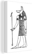 Illustratie van de Mythologische God Anubis canvas 40x60 cm - Foto print op Canvas schilderij (Wanddecoratie woonkamer / slaapkamer)