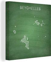 Illustratie van de Seychellen op een krijtbord 90x90 cm - Foto print op Canvas schilderij (Wanddecoratie woonkamer / slaapkamer)