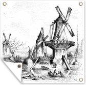 Zwart-wit illustratie van windmolens tuinposter 40x30 cm - klein - Tuindoek / Buitencanvas / Schilderijen voor buiten (tuin decoratie)