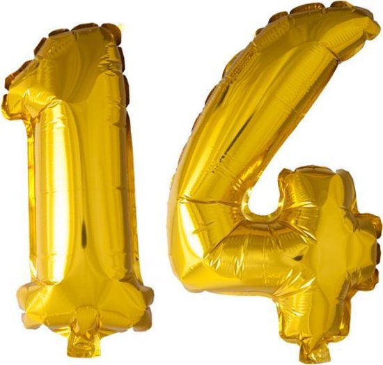 Folieballon nr. 14 Goud 41cm