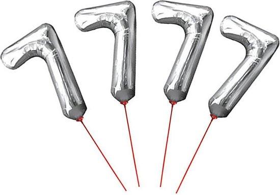 Cijferballon folie nummer 7 op stokje - Folieballon opblaascijfer 7 zilver 30 cm - 4 STUKS