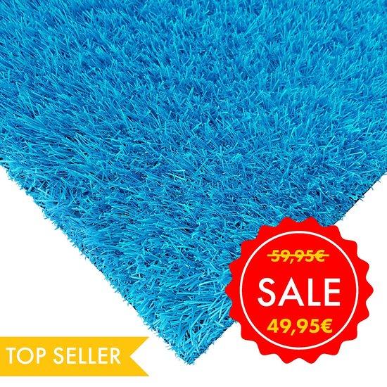 Kunstgras Tapijt RAINBOW Ocean Blue - 133x200cm - 25mm|grastapijt|grasmat|artificial grass|gazon artificiel|blauw|tuin|balkon|terras|kinderkamer|speelkamer|grastapijt|gras mat|kerst
