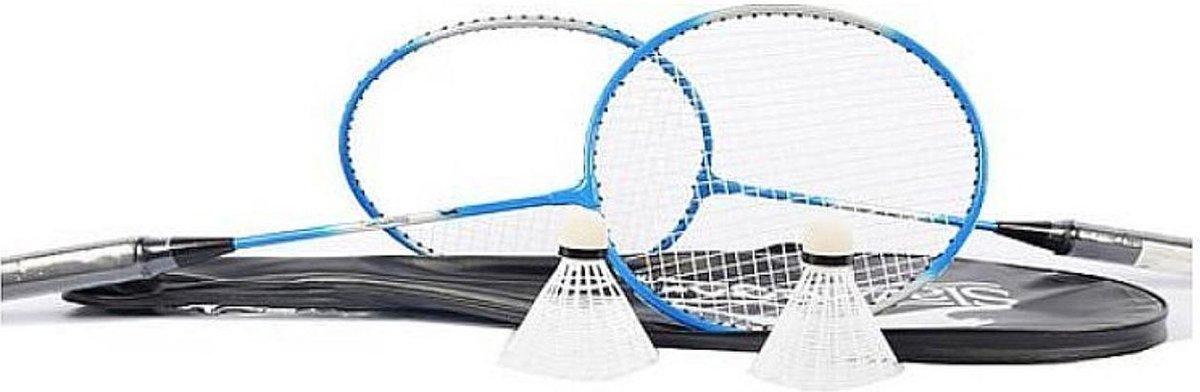 Slazenger 2 persoons Badminton Set - 2 rackets - 2 shuttles - rood - zwart of blauw