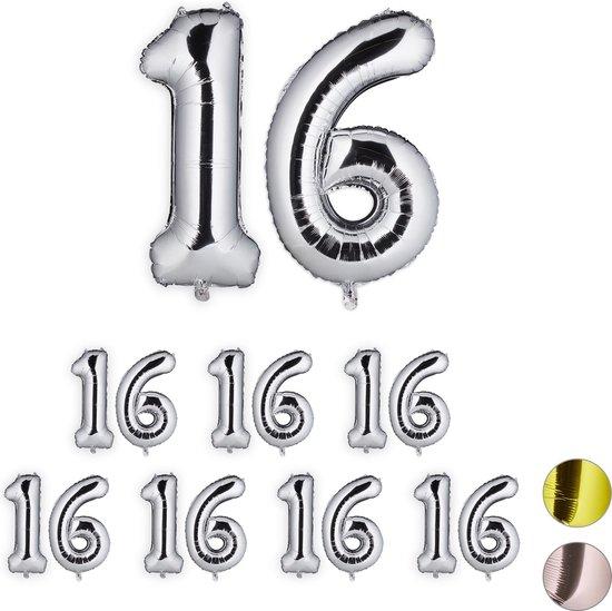 relaxdays 8x folie ballon 16 - cijfer ballon - groot - xxl ballon - verjaardag - zilver