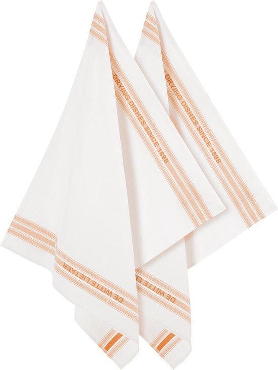 De Witte Lietaer Keukenhanddoek 65x70 Cm Katoen/linnen Wit/oranje 2 Stuks