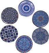 Onderzetters - Set van 6 - Rond - Onderzetters voor glazen - Bohemian - Oosterse - Mandala design - Coasters -Sint cadeaus