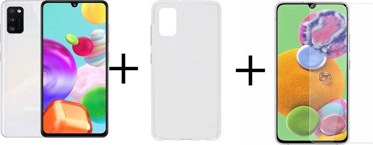 Samsung Galaxy A41 - 64GB - Wit + Transparant Hoesje + Screenprotector van HGA kopen