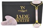 youNeed Rose Quartz Jade Roller Gezichtsmassage Roller - Met 1 Gua Sha Steen - Roze