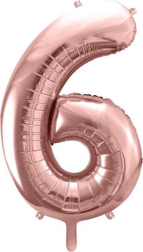 Folieballon Cijfer 6 – 6 Jaar – 86cm Groot – Rosé Goud - Verjaardag Versiering