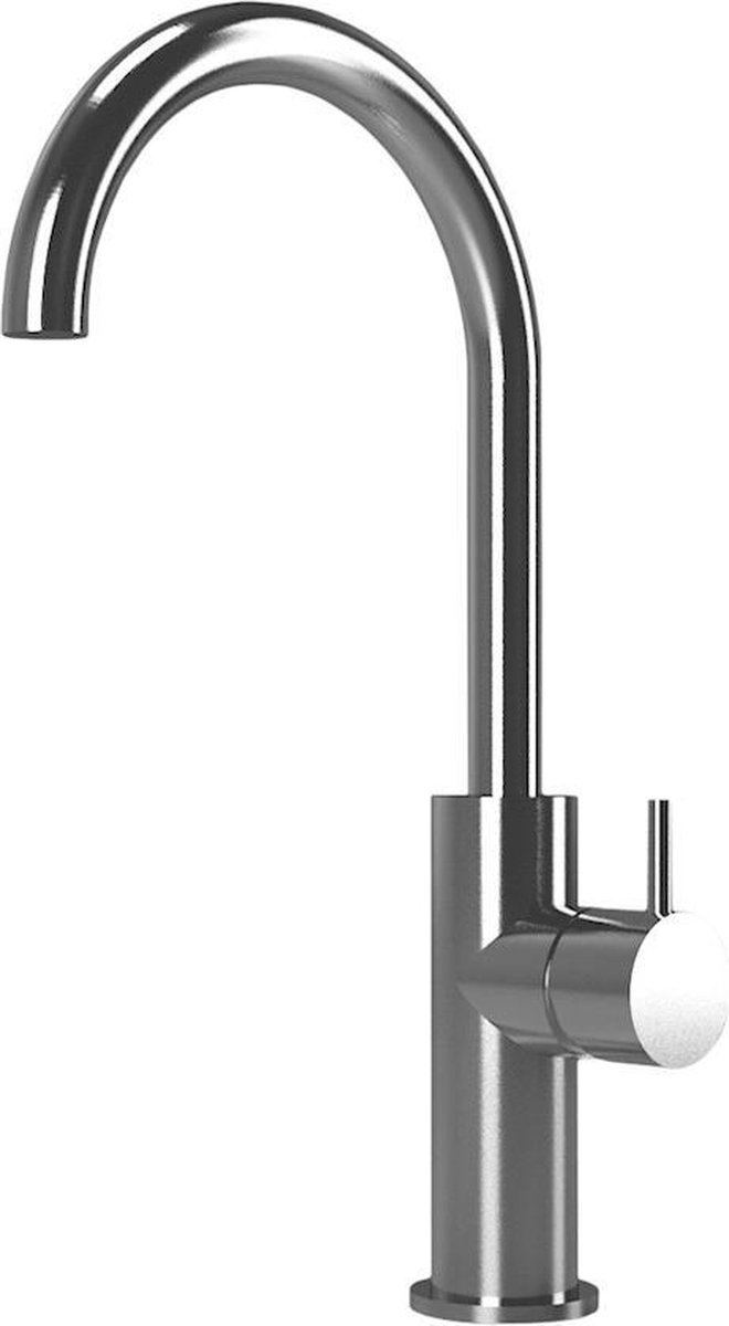 Waterevolution Qisani Flow opbouw wastafelkraan hoog Brushed Brass / Messing rond
