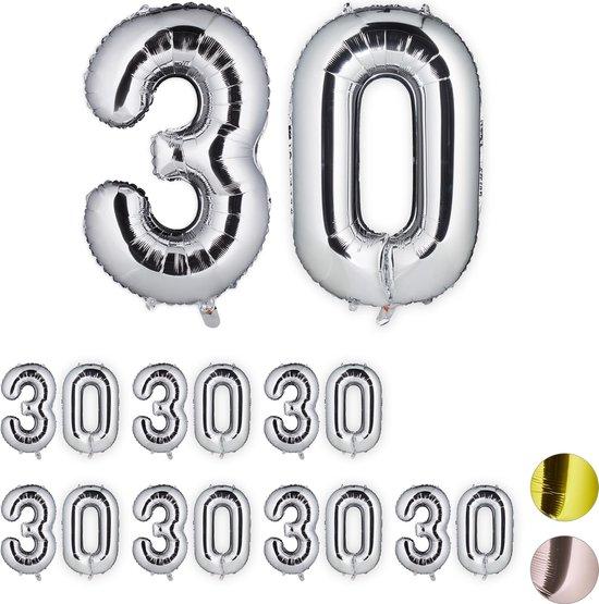 relaxdays 8x folie ballon cijfer 30 - XXL cijferballon - getal - verjaardag - zilver