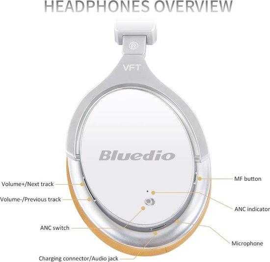 Bluedio F2 Bluetooth-hoofdtelefoon Actieve ruisonderdrukking, Bluedio F2 ANC draadloze hoofdtelefoon voor over het oor 180 ° rotatie, bedrade en draadloze hoofdtelefoon voor mobiele telefoon / tv / pc - Wit