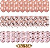 Partizzle® 60x Rose Goud Feest Verjaardag Versiering Helium Ballonnen - Confetti Decoratie - Latex