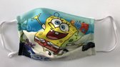 Mondmasker voor kinderen met SpongeBob opdruk - Mondkapje voor kinderen - Herbruikbaar - Wasbaar - Geschikt voor OV - Niet medisch - Antibacterieel - Met elastiek - Face Mask - Mondkapje wasbaar - Mondmasker wasbaar