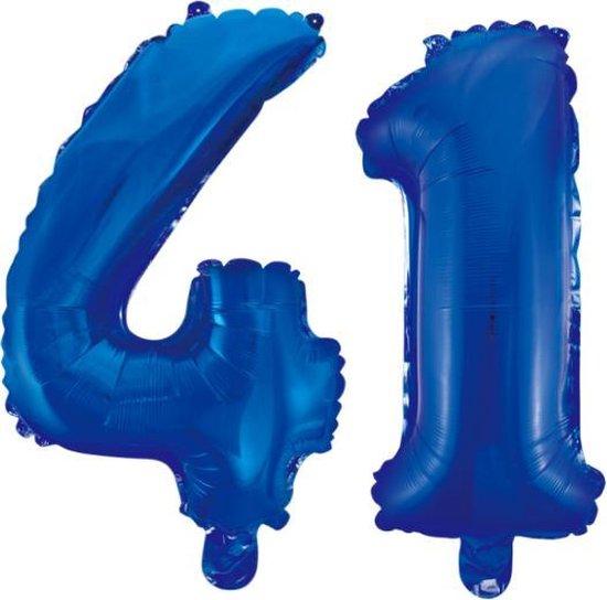 Folieballon 41 jaar blauw 86cm