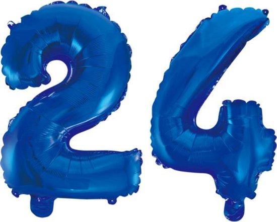 Folieballon 24 jaar blauw 86cm