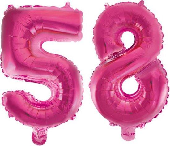 Folieballon 58 jaar roze 41cm