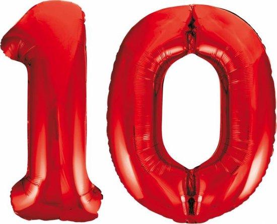 Folieballon 10 jaar rood 86cm
