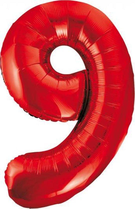 Folieballon 9 jaar rood 86cm