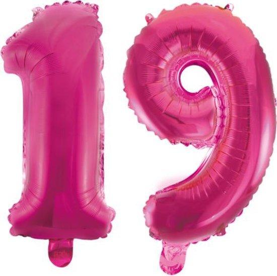 Folieballon 19 jaar roze 86cm