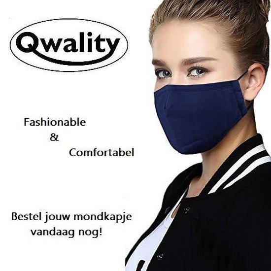 Mondkapje Wasbaar - Verstelbare Mondkapjes - Katoenen Mondmasker - Mouth Mask - Custom Design - Stoffen Mond masker - Herbruikbaar Mond Kapje - Zwart - Qwality