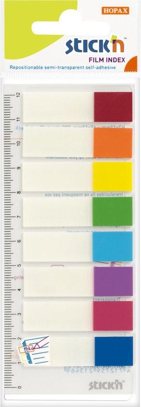 Afbeelding van Film Index tab Stickn 45x12mm op flexibele liniaal met millimeter aanduiding, 8x neon/transparant assortikleuren, 120 index tabs