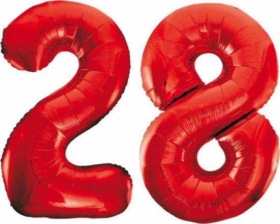 Folieballon 28 jaar rood 86cm