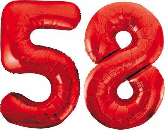 Folieballon 58 jaar rood 86cm