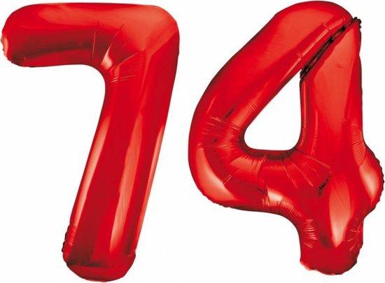 Folieballon 74 jaar rood 86cm