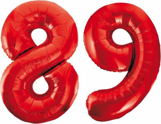 Folieballon 89 jaar rood 86cm