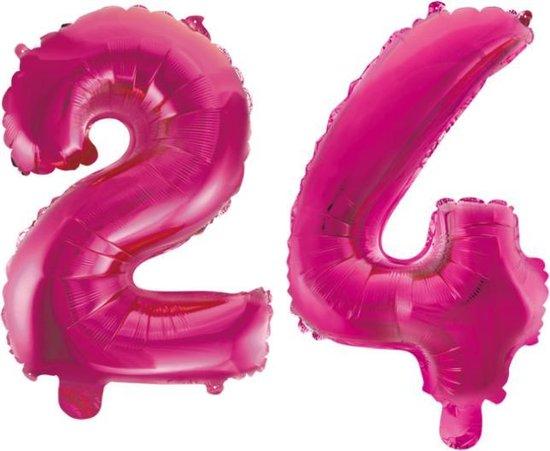Folieballon 24 jaar roze 41cm