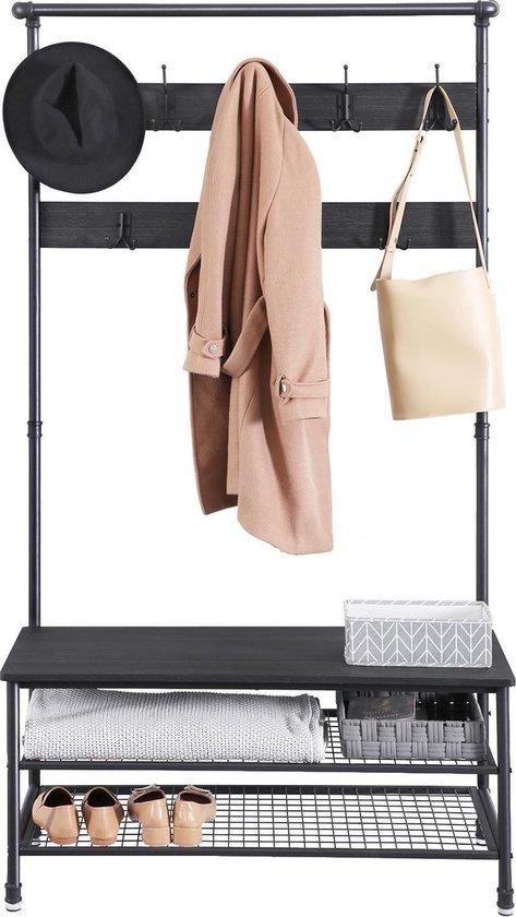 MIRA Home - Kapstok - XL Garderoberek met kapstok - Hout/Metaal - Zwart - 100x41,5x182