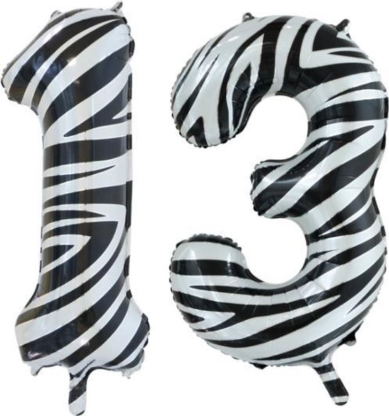 Folieballon 13 jaar zebra 86cm