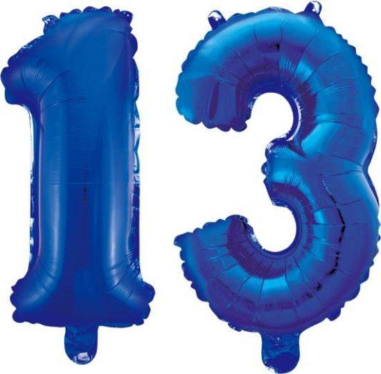Folieballon 13 jaar blauw 86cm