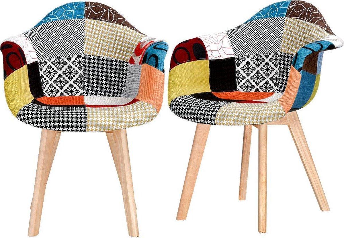Luxe Nordic Minimalism Kuipstoel Eetkamerstoel Kuipje Vintage Stof Retro Gestoffeerde Zitting Veelkleurige fauteuil Massief houten Poot