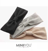 MINIIYOU® Set 3 stuks | Dames haarbanden basic zwart - grijs - beige | meiden - tieners - dames  - vrouwen - volwassenen hoofdbanden set sport - make up - vrijetijds haarband