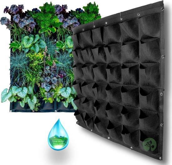 Verticale Tuin met Watersysteem - Hangende Plantenzak - Moestuin - 36 Ruime Vakken - 1x1 m