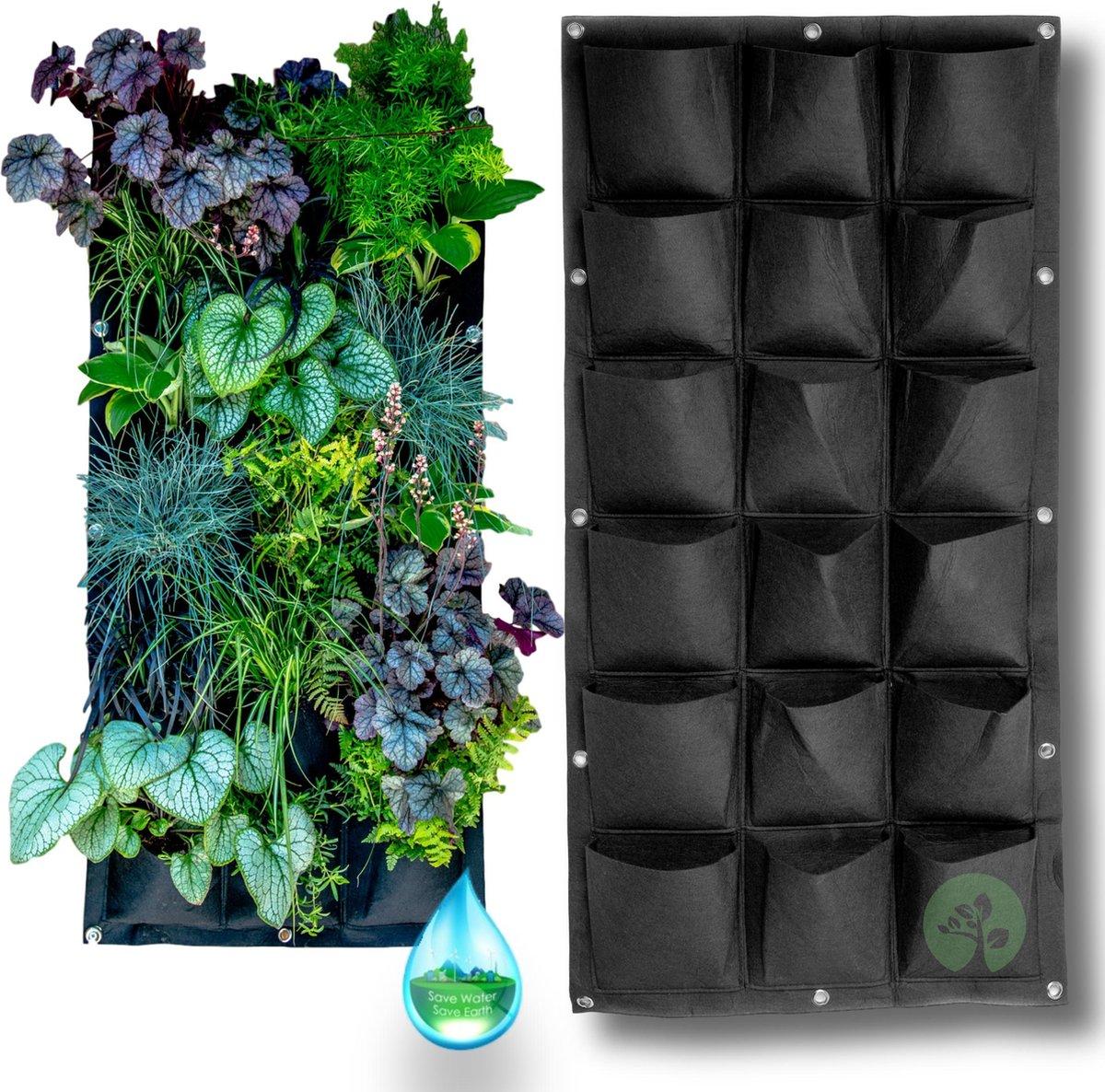 Verticale Tuin met Watersysteem - Hangende Plantenzak - Moestuin - 18 Ruime Vakken - 50x100 cm
