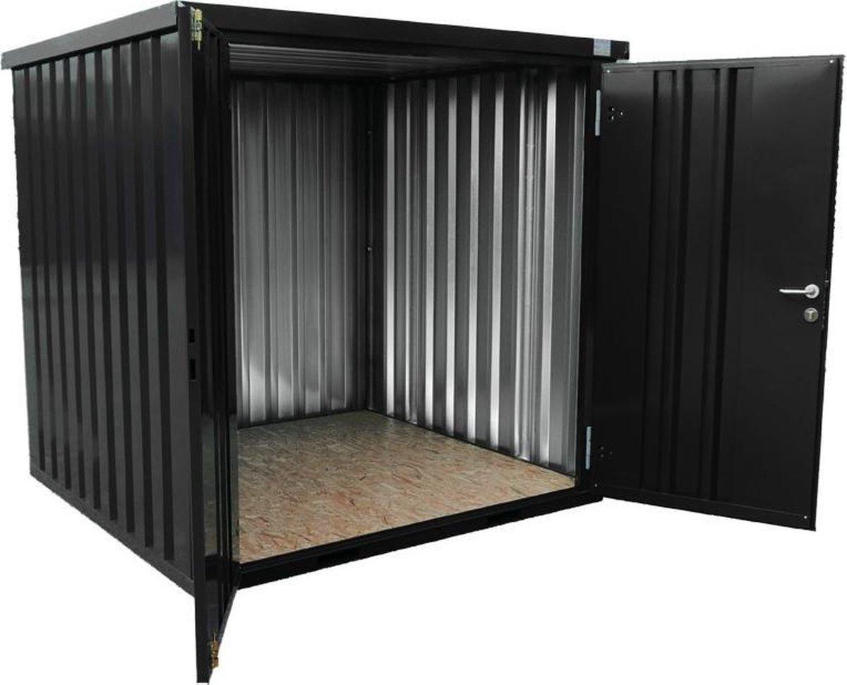 Demontabele container in RAL 9005 - 4 x 2 meter dubbele korte zijde / Tuinhuis container / Materiaalcontainer / Opslagcontainer / Bouwcontainer. Te gebruiken als: bedrijfsopslag / tuinopslag / zakelijke opslag / goederenopslag kopen
