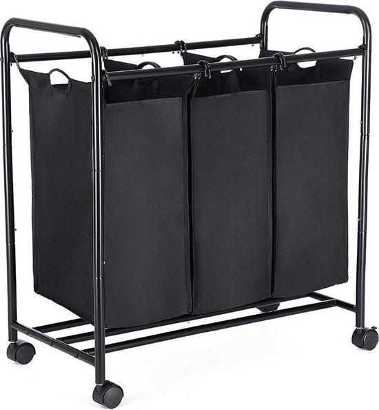 Mobiele Wassorteerder met 3 Vakken - op wielen - 132 l (3 x 44 Liter) - Zwart