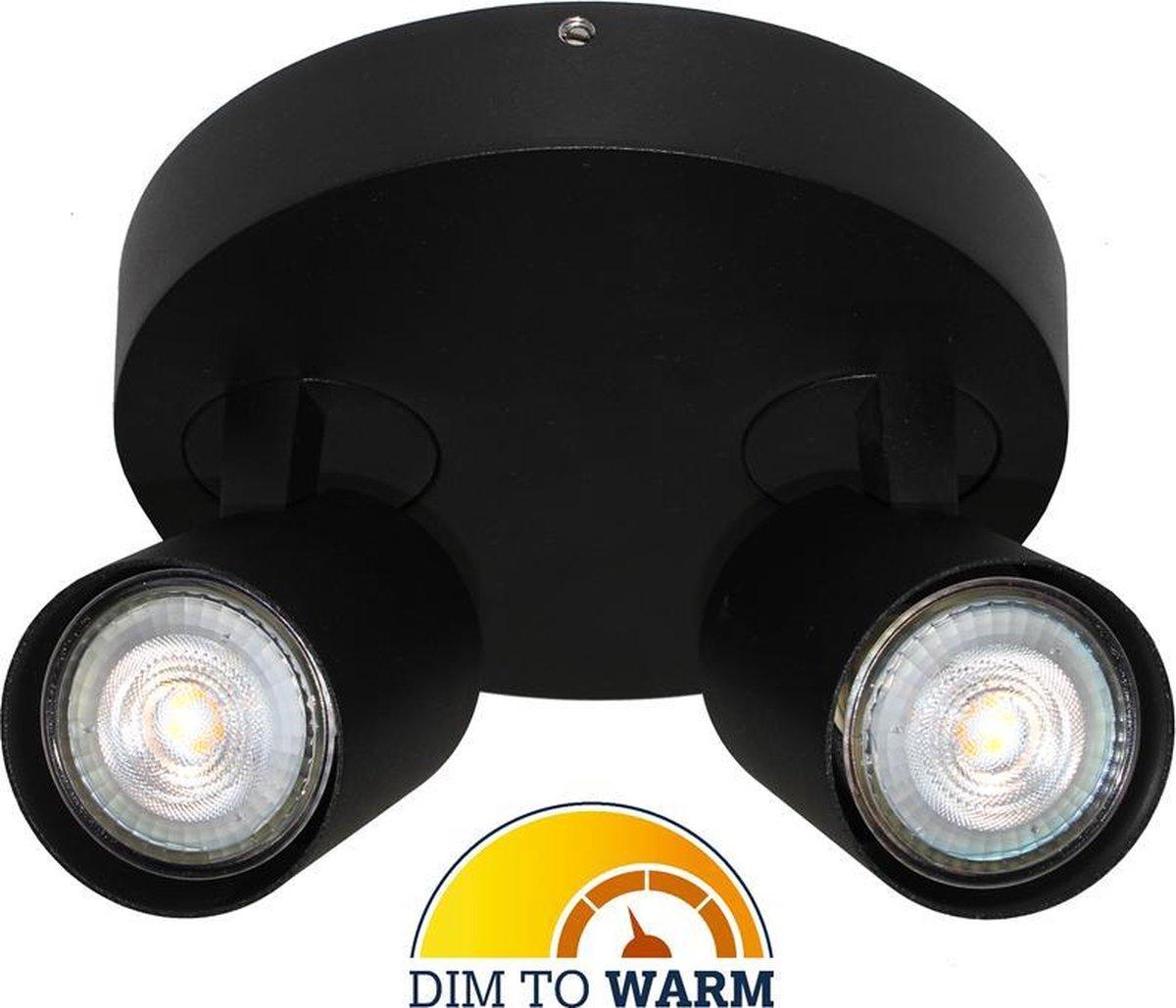 Artdelight - Plafondlamp Vivaro 2L Rond - Zwart - 2x LED 4,9W 2200K-2700K - IP20 - Dim To Warm >  spots   spotjes   spotjes plafondlamp   opbouwspot led   spots verlichting led   plafonniere led zwart   led lamp
