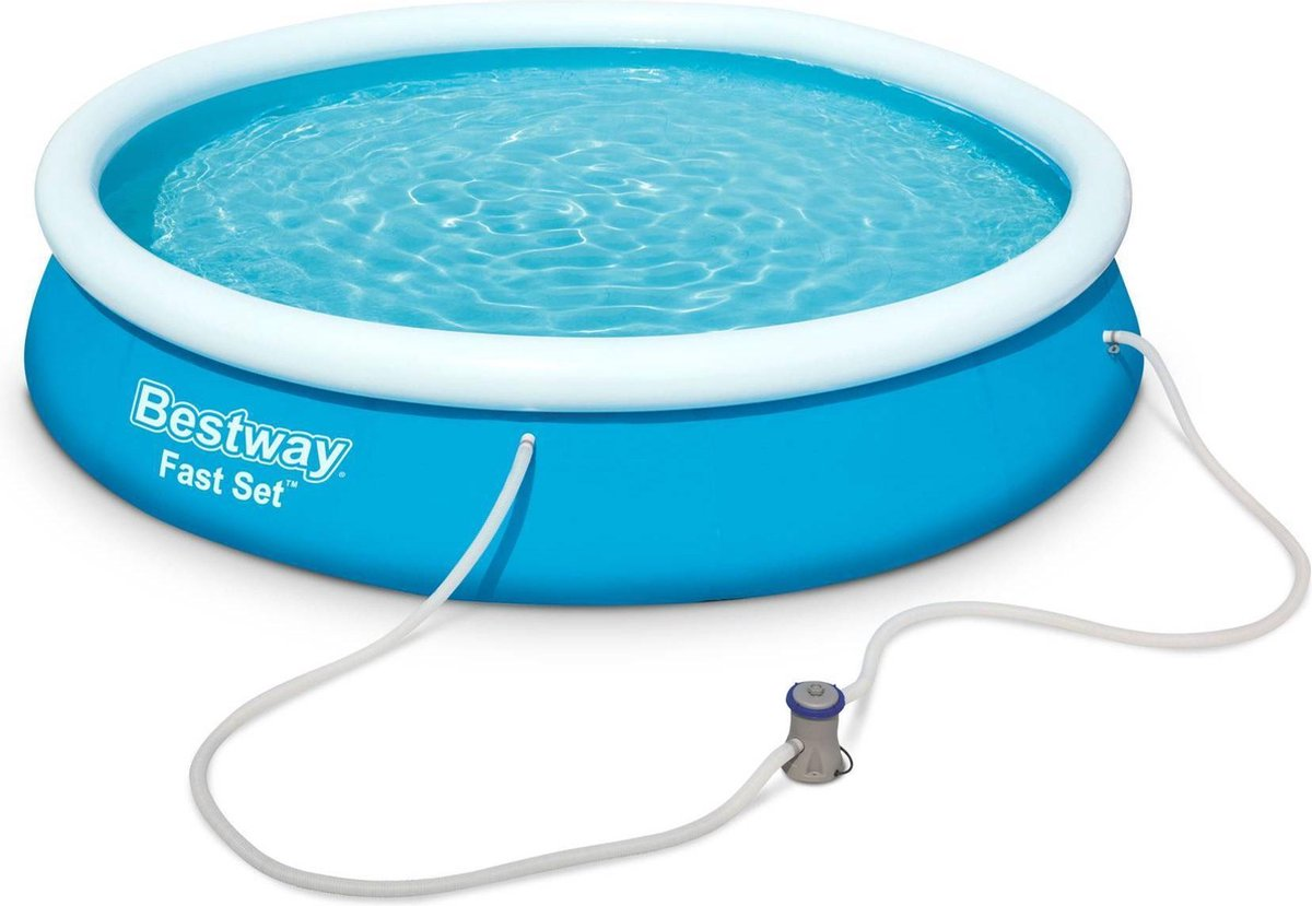 Opblaasbaar zwembad zelfdragend blauw BESTWAY - Jade ⌀ 360 x 76 cm - zelfdragend rond bovengronds zwembad met patroonfilter