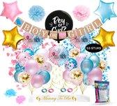 Fissaly® 53 Stuks Gender Reveal Baby Shower Ballonnen Decoratie Feestpakket – Geslachtsbepaling & Babyshower