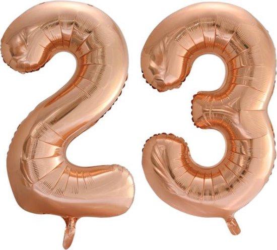Folieballon nr. 23 Rosé Goud 86cm